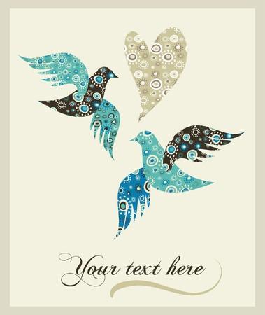 pigeons: Mod�le invitation de mariage  Illustration