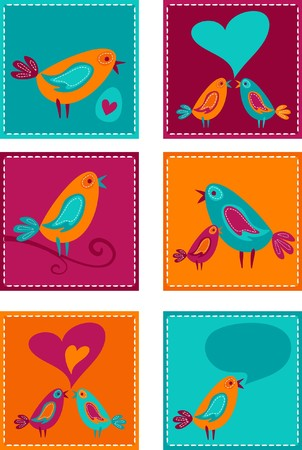 Cute colorful bird doodles Vector