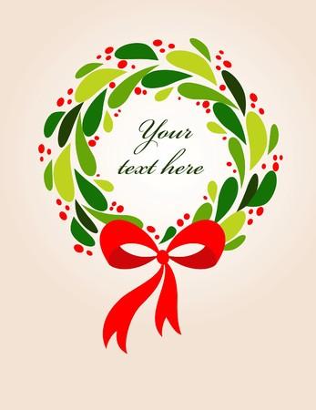 Christmas wreath card template - 2 Vector