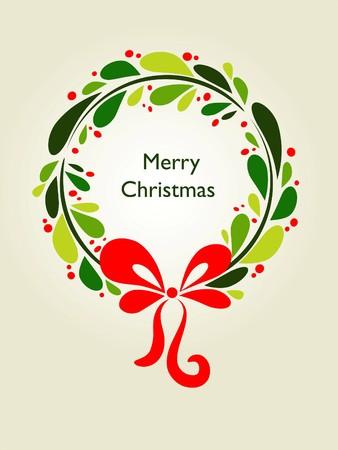 Christmas wreath card template - 1 Vector