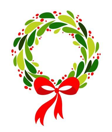 fir cone: Guirnalda de Navidad con arco rojo