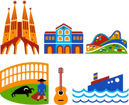 monument historical monument: Barcelona - touristic landmarks and attractions Illustration