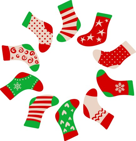 white stockings: Christmas stockings framed template Illustration