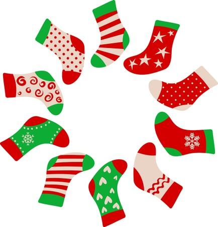 Kerst mis kousen ingelijst sjabloon  Vector Illustratie