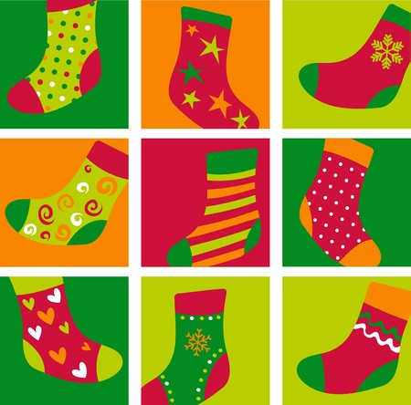 Cute colorful Christmas stockings Stock Vector - 7977979