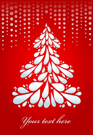White Christmas tree on red background Stock Vector - 7977997