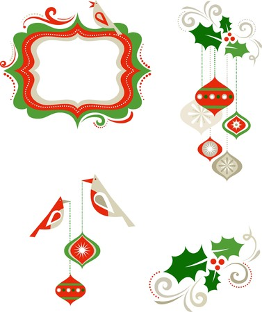 holly berry: Christmas graphic elements - frame, birds and decorations