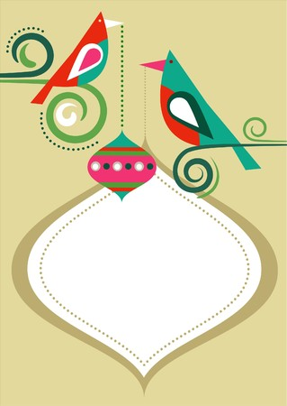 Christmas birds greeting card template with copy-space  Vector