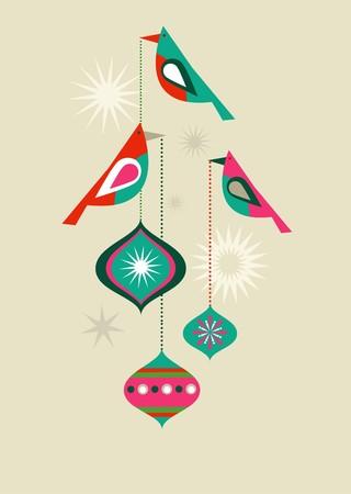 appendere: Uccelli di Natale con le palle decorativi  Vettoriali