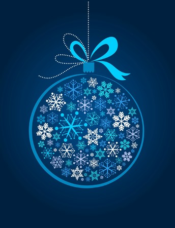 Blue Xmas ball with snowflake pattern Vector