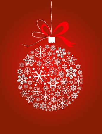 Red Xmas ball with snowflake pattern Vector