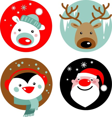 Christmas characters - Santa, reindeer, penguin and polar bear Vector