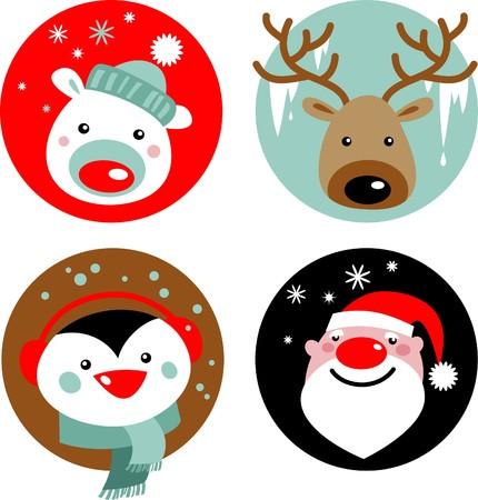 reno: Personajes de Navidad - Santa, renos, ping�inos y oso polar  Vectores