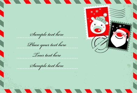 Christmas envelope with cute stamps Stock Vector - 7978011