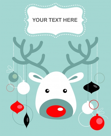 Christmas reindeer card with blue background