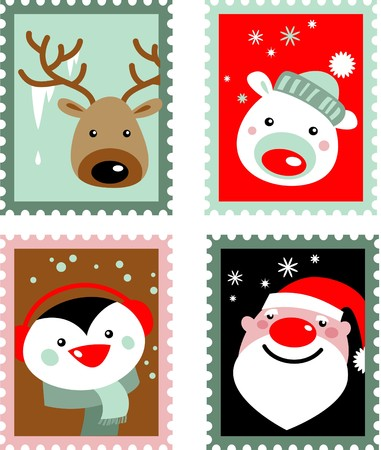 Christmas post stamps with Santa, reindeer, polar bear and penguin Vector