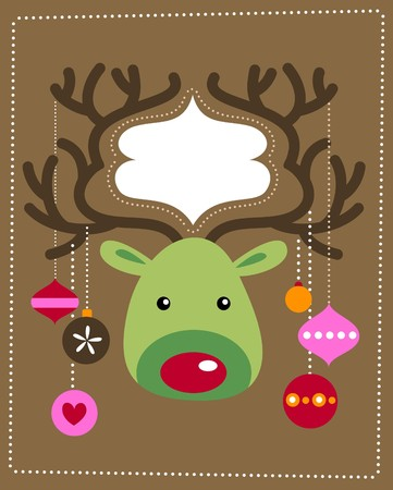 Cute Christmas reindeer card Vector