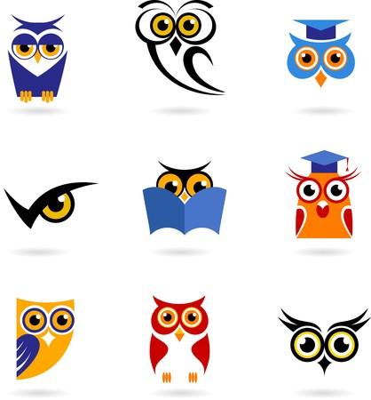 isolated owl: Conjunto de iconos y logotipos de b�ho