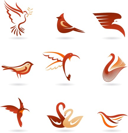 Set of different birds icons Illustration