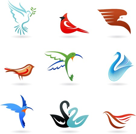 Set of different cute birds icons