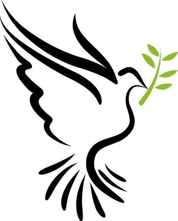 white dove: S�mbolo de paloma de un blanco de vuelo libre  Vectores