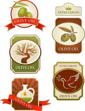 condiment: Olives labels collection isolated on white background. Illustration