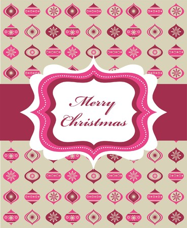 Pink Christmas background with retro frame and Christmas balls, illustration