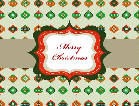 Elegant Christmas card with retro frame and Christmas balls background Stock Vector - 7977993
