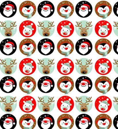 Santa Claus, Rudolph, polar bear and penguin wallpaper Ilustrace