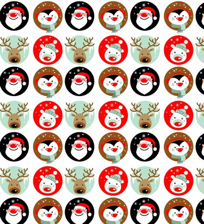 santaclaus: Santa Claus, Rudolph, polar bear and penguin wallpaper Illustration