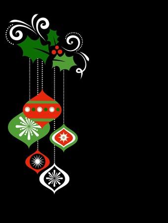 Christmas balls  illustration on black background Stock Vector - 7977959