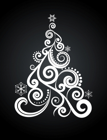 White Christmas tree on black background