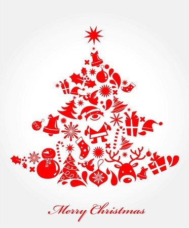 Xmas tree made from different Christmas elements Stock Vector - 7977992