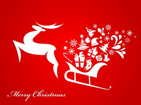 red Christmas background.  Vector
