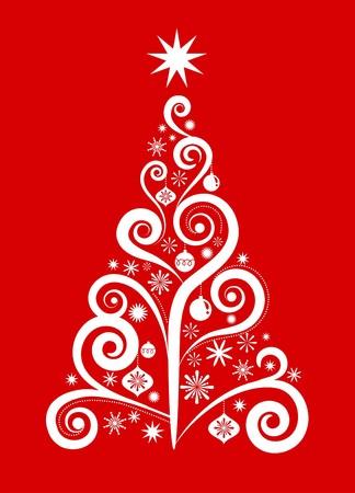 grunge tree: White Christmas tree on red background