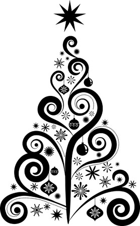 christmas scroll: Graphic elegant Christmas tree