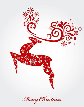 Christmas background with red reindeer Vector
