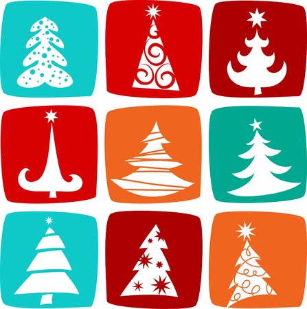 Christmas trees icons Stock Vector - 7977957