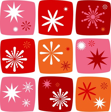 Christmas Icons set with salutes, stars and sparklers Vector