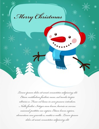 Christmas card with snowman Stock Vector - 7978009