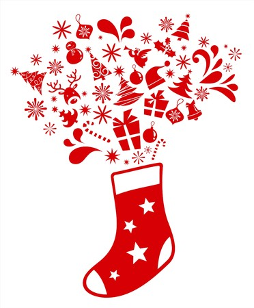 sock: Christmas stocking with many graphic elements
