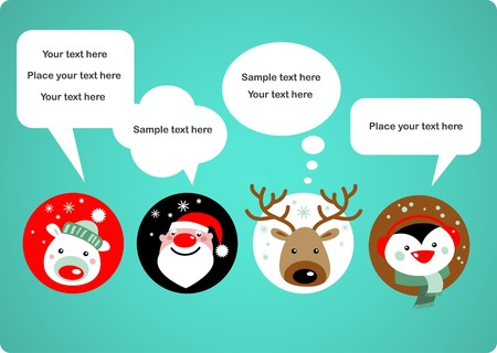 cartoon penguin: Santa Claus, Rudolph, polar bear and penguin with speech bubbles