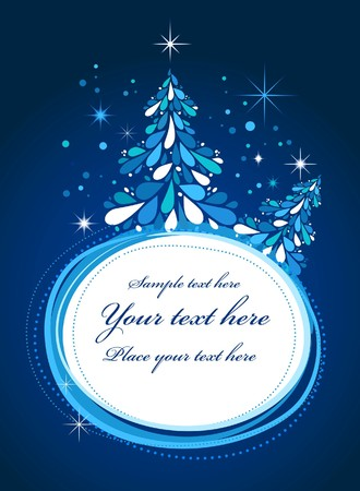 Christmas tree card with blue background Stock Vector - 7978005