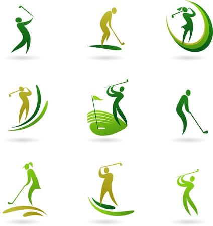 Golf pictogrammen collectie  Vector Illustratie