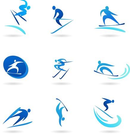 sport invernali: Collezione di icone di sport invernali