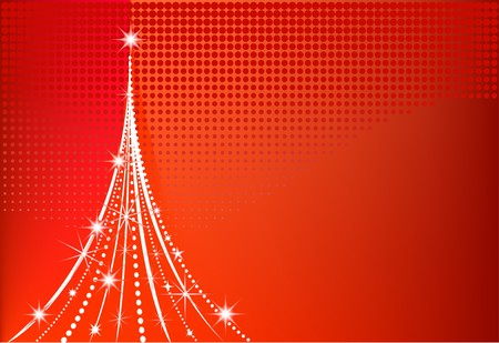 Modern Christmas tree  with red dotted background Vector