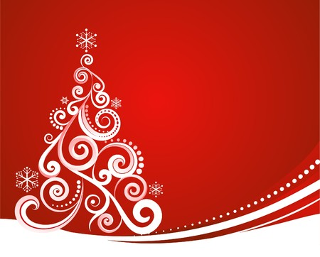 christmas tree background: Red Christmas template with swirly tree Illustration