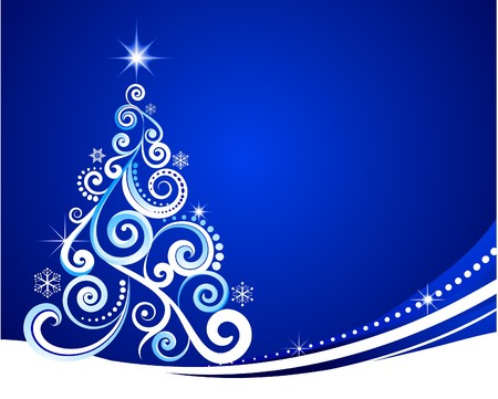 year curve: Blue Christmas template with swirly tree