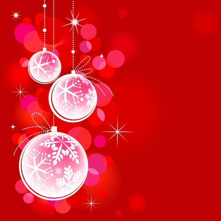 3D Christmas balls on red background Vector