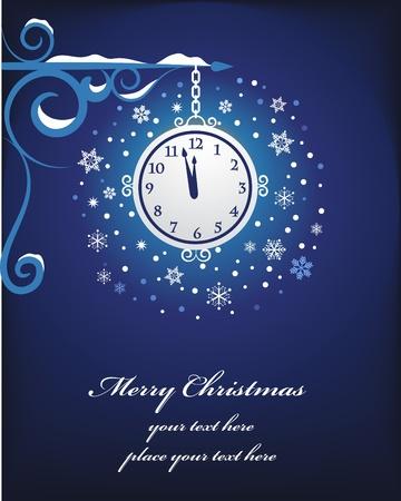 Christmas clock background Vector